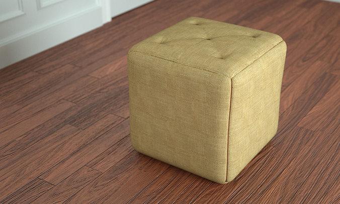 simple pouf ottoman 3d model max obj mtl 1