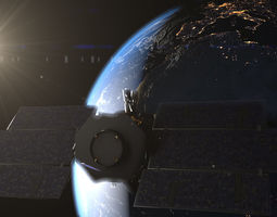 animated 3d photorealistic earth and cloudsat satellite