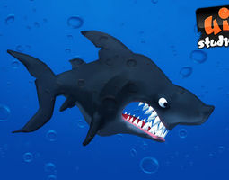 toon shark realtime 3d model animated