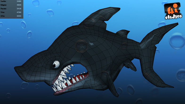 3d model toon shark vr ar low poly fbx unitypackage for Virtual reality fishing