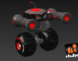 attack bot animated 3d model low-poly