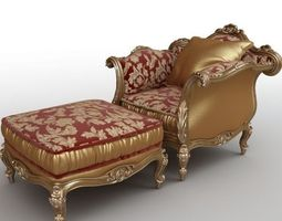 Victorian armchair and Ottoman 3D