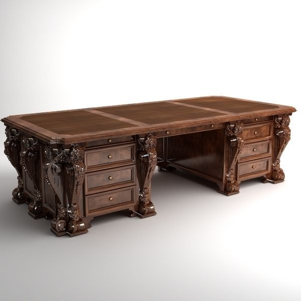 ... photorealistic antique wooden desk 2 3d model max 3ds fbx 3 ... - Photorealistic Antique Wooden Desk 2 3D CGTrader