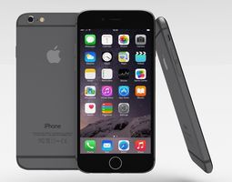 iphone 6 space grey 3d model low-poly obj blend