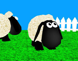 3d model animated game-ready toon sheep