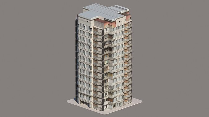 Apartment Building Low Poly Free Vr Ar Model
