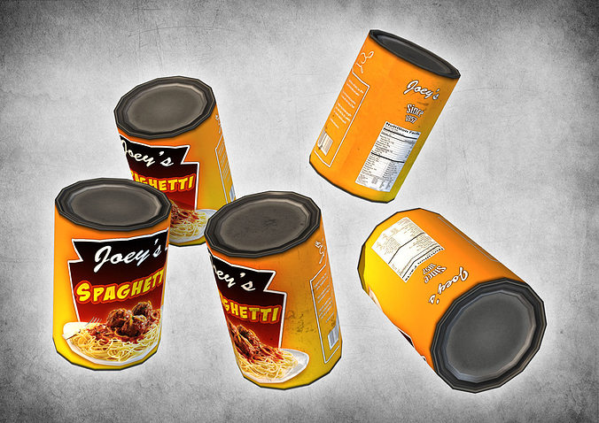 canned spaghetti 3d model low-poly max obj mtl 3ds fbx dxf dae 1
