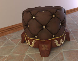 3D Royal Chesterfield Ottoman