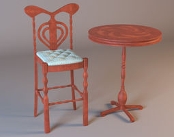3D model Bar Stool and Table