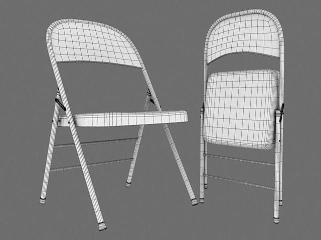 White Metal Folding Chairs metal folding chair 3d model max obj mtl