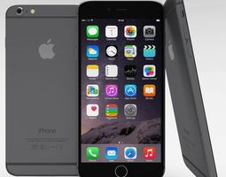 iphone 6 plus space grey 3d model low-poly obj blend