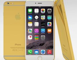 iphone 6 plus gold plated 3d model low-poly obj blend