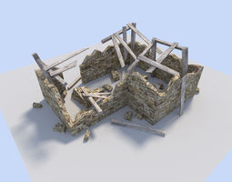 ruined house 3D asset