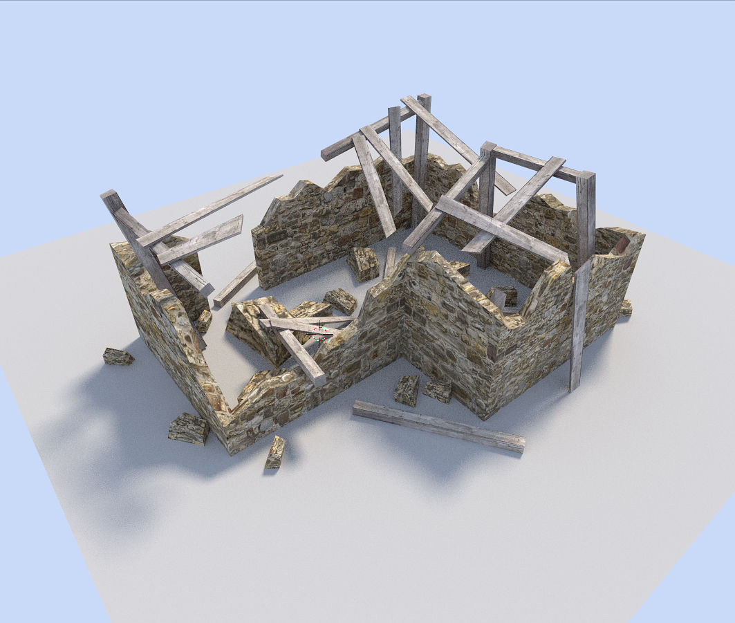 Ruined House 3d Model Low Poly Obj 3ds Fbx Blend Dae 1