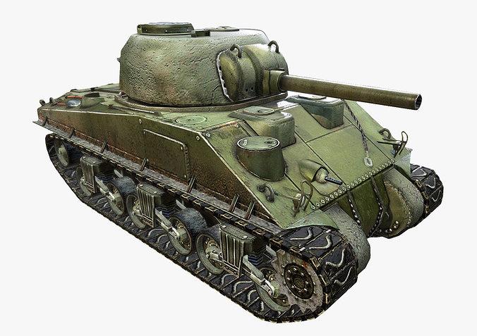 M sherman tank d asset cgtrader