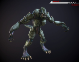 alien beast lowpoly rigged 3d asset realtime PBR