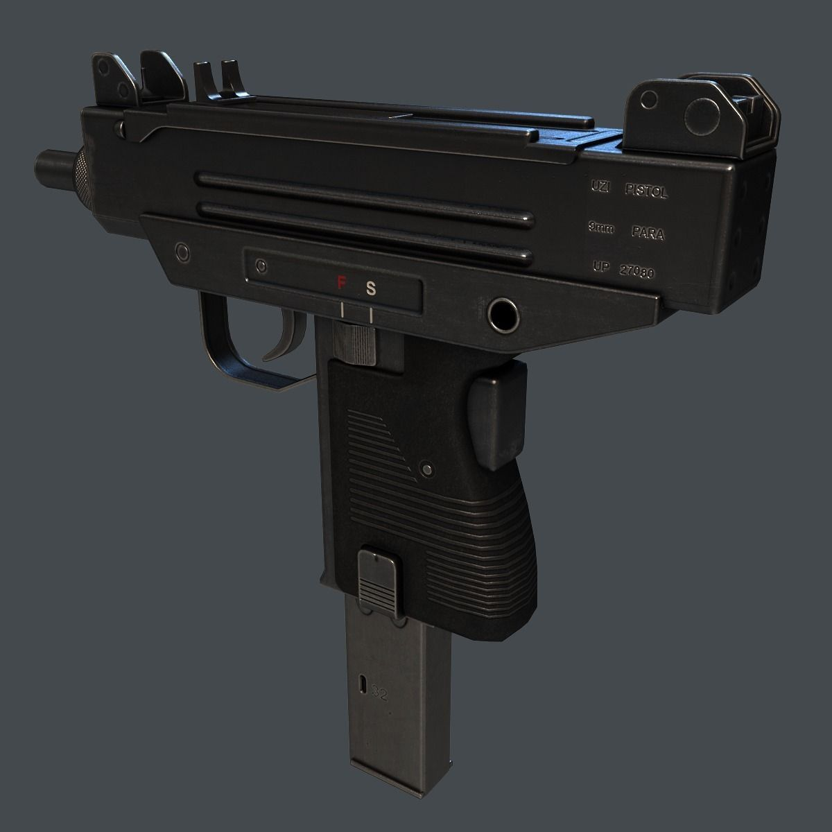 3D Model Micro Uzi SMG VR / AR / Low-poly MAX OBJ 3DS FBX