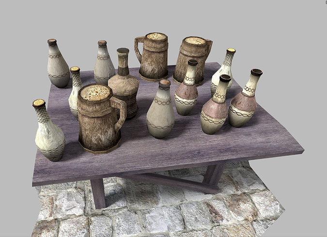 low poly medieval drinks pack 3d model low-poly obj 3ds fbx blend dae x 1