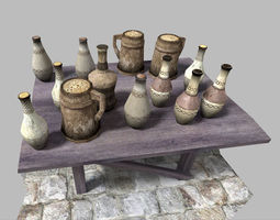 low poly medieval drinks pack 3D Model