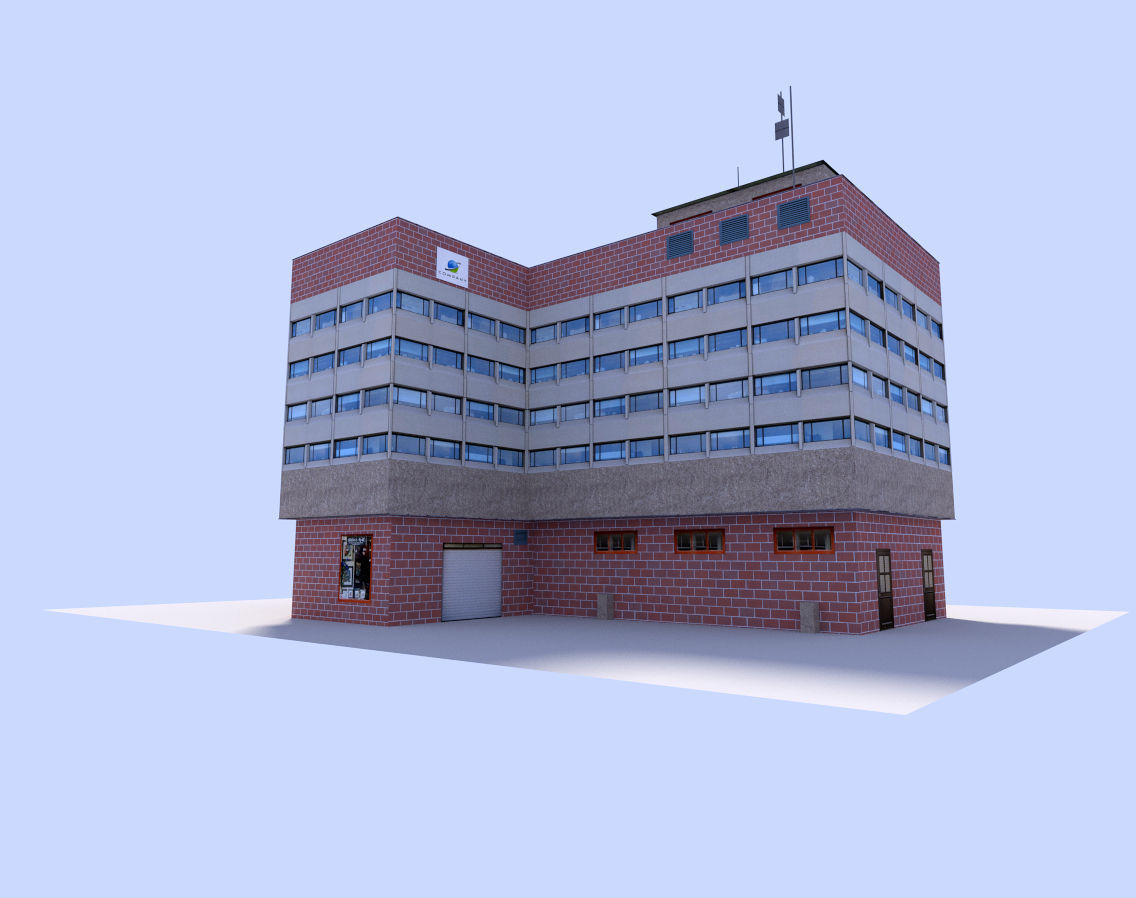 Free office building free vr ar low poly 3d model obj for Build house online 3d free