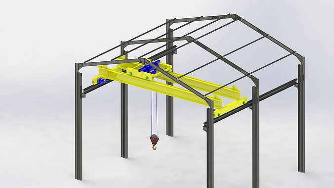 Overhead Crane Autocad Drawing : D model bridge crane and structure cgtrader