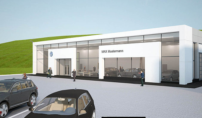 Auto showroom 3d model cgtrader for Exterior 3ds max model