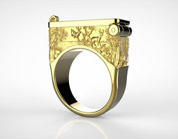 3D print model Secret Compartment ring with relief