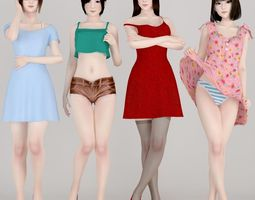 3D 4 girls daily outfit pose 01