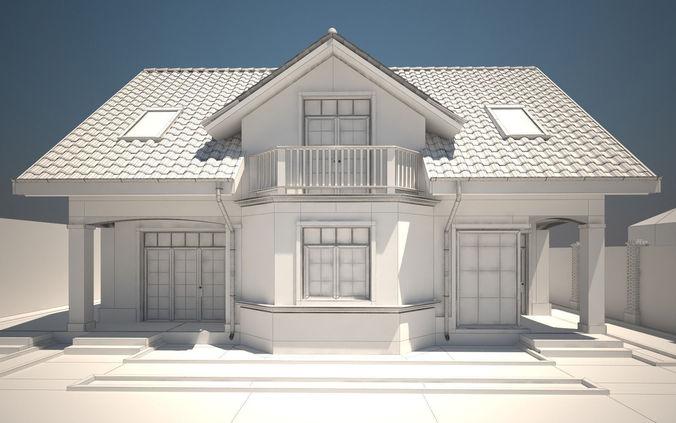 House exterior 3d model max obj tga for Model home exterior photos