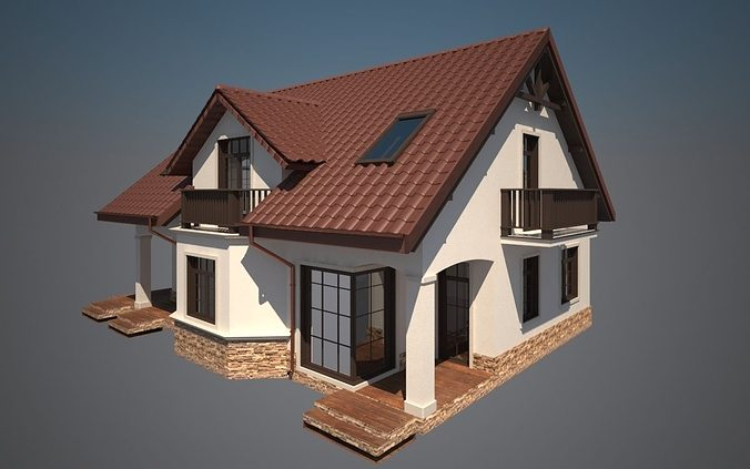 Cottage house 3d print model cgtrader for 3d model of house