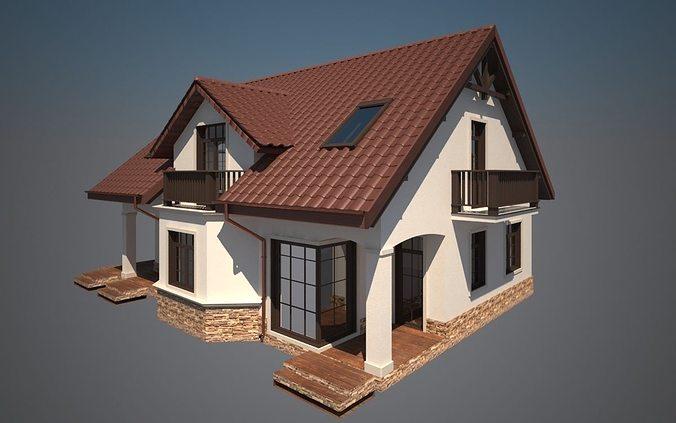 Cottage House 3d Model Max Obj 3ds Fbx Stl Dwg 1