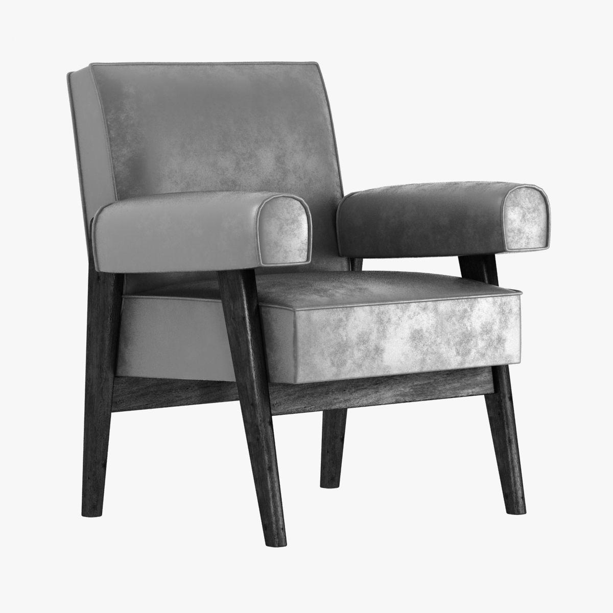 le corbusier and pierre jeanneret armchair 3d model max obj 3ds fbx mtl 1 - Le Corbusier Chair