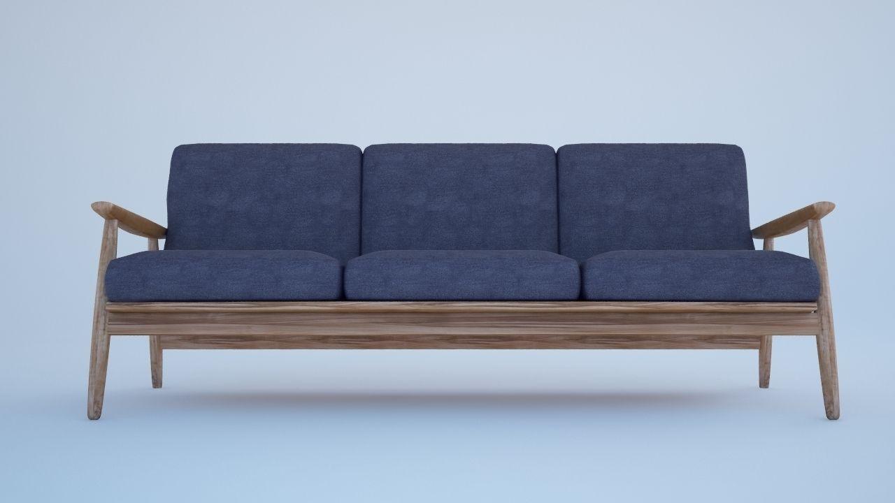 Blue sofa 3d model max obj 3ds fbx for Divan furniture models