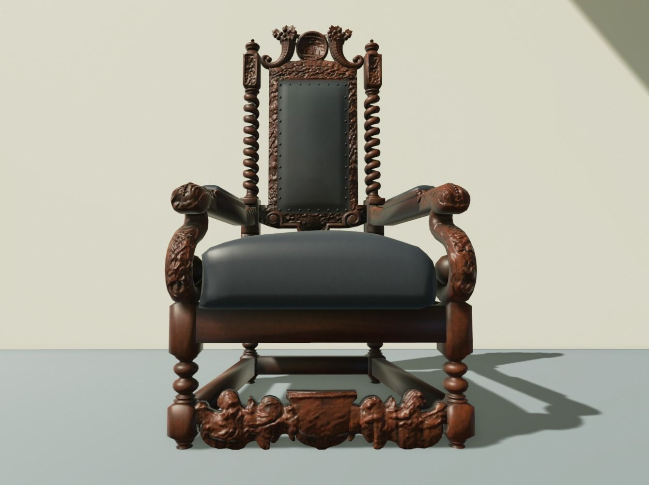 ... antique throne chair 3d model rigged obj mtl 2 ... - 3D Model Antique Throne Chair CGTrader