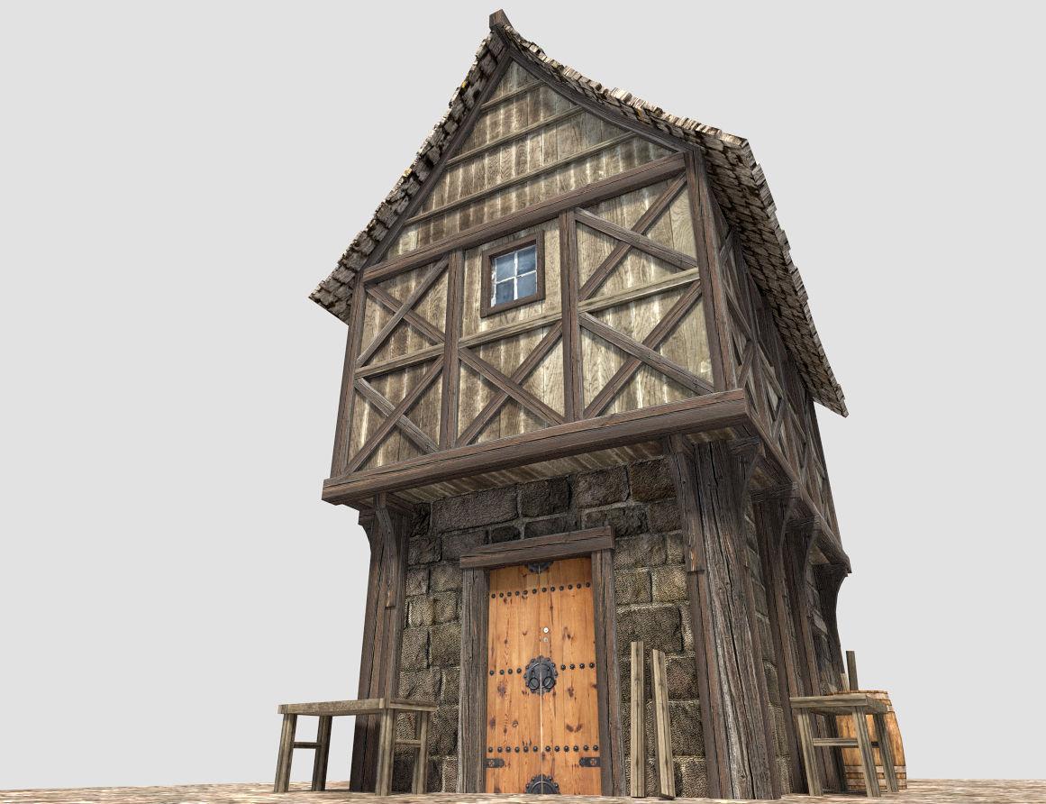 Medieval City House 3d Model Obj 3ds Fbx Blend Dae X3d 3