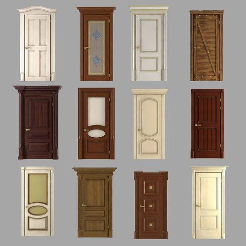 classic doors collection 3d model max obj mtl 3ds fbx 1