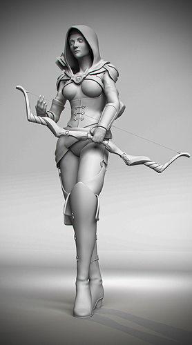 rogue assassin archer 3d model rigged obj mtl ma mb 1