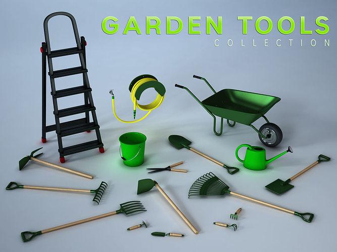 garden tools collection 3d model obj fbx ma mb mtl tga 1