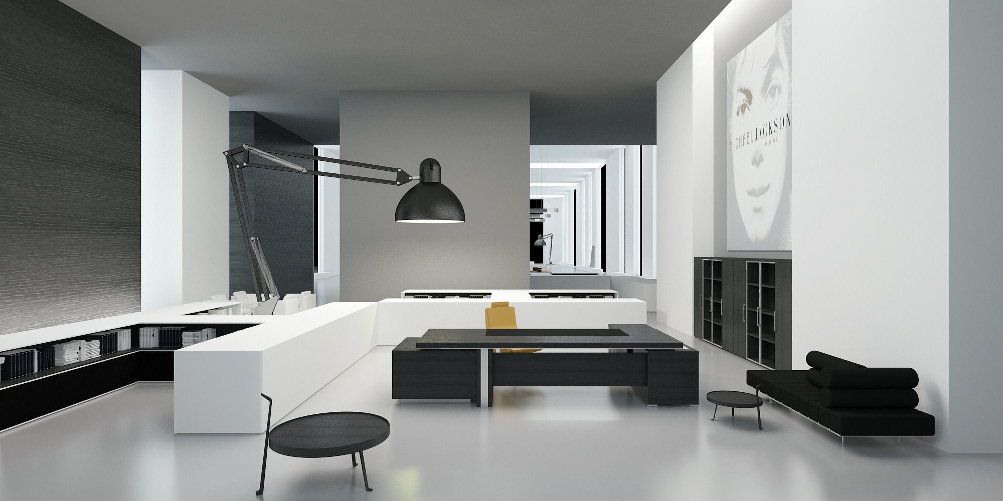 Modern office interior 3d model max for Office table 3d design