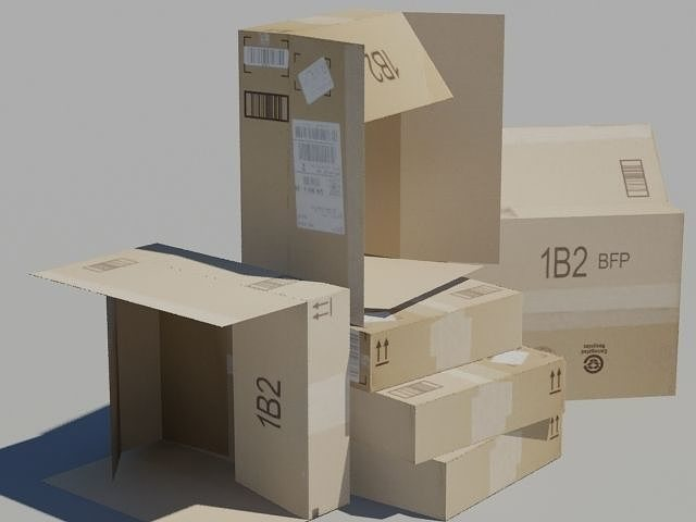 crate 6 cardboard box 3d model max 1