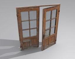 Door 3 Double French Wood 3D asset