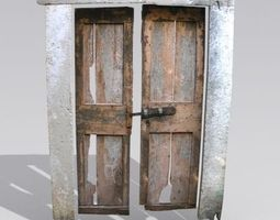 Door 6 wooden double with stone frame 3D asset