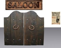 VR / AR ready door 28 with saloon sign and wanted poster 3d asset