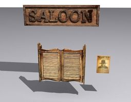 game-ready door 29 with saloon sign and wanted poster 3d model
