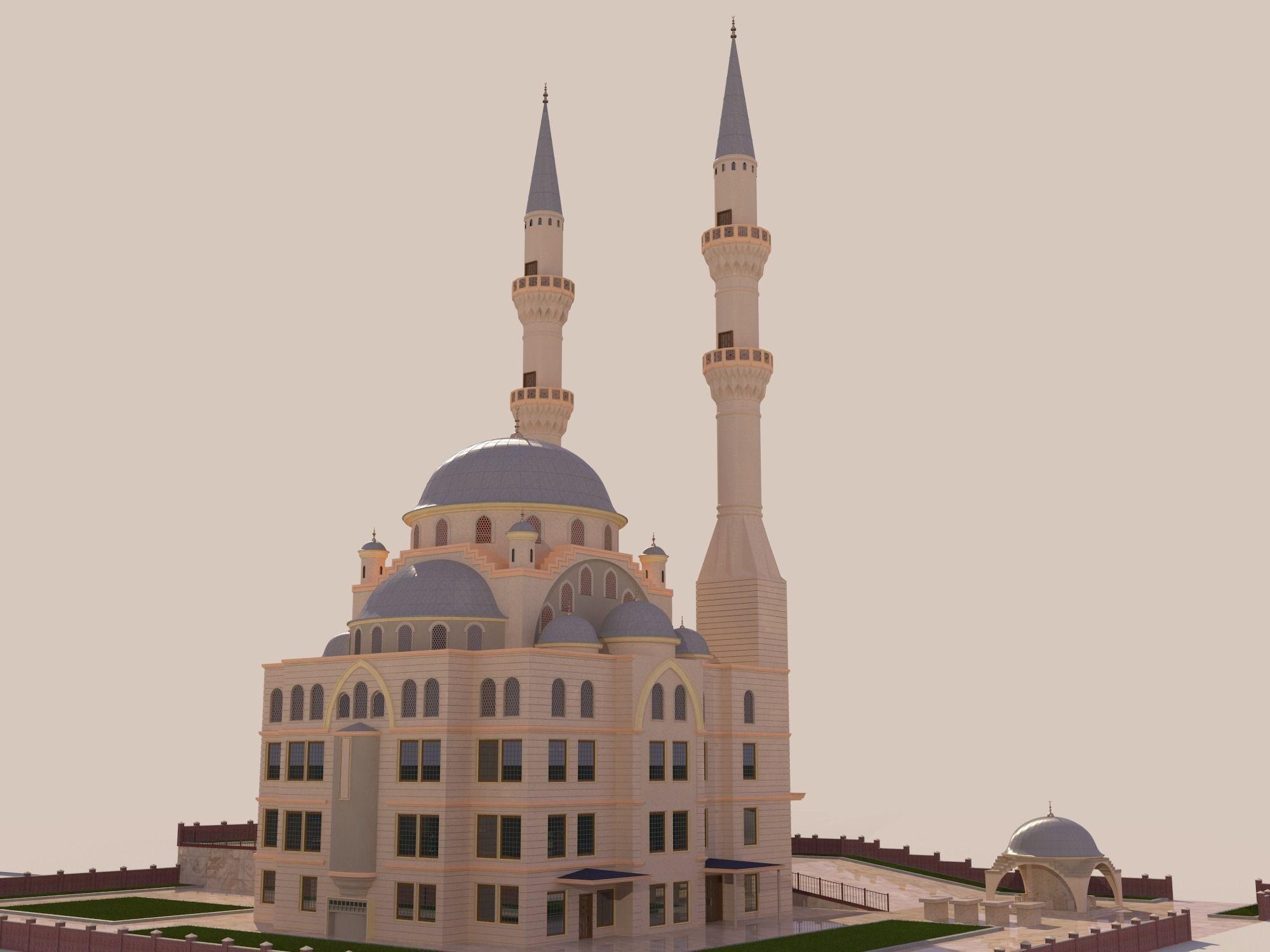 Mosque Hi Res 3d Model Max Obj 3ds Fbx Ma Mb Dae