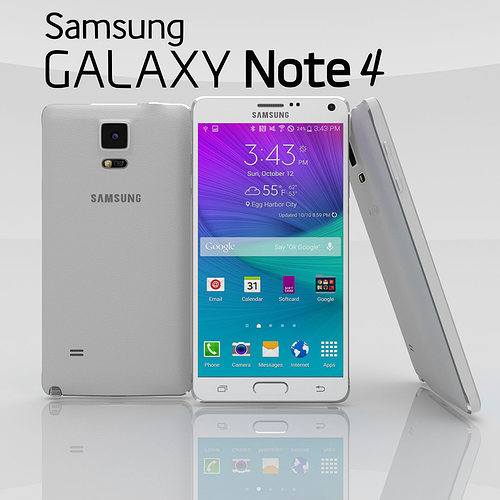 samsung galaxy note 4 frosted white 3d model obj blend mtl 1