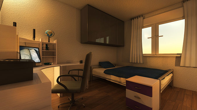 mr preview bedroom 3d model max obj mtl 3ds 1