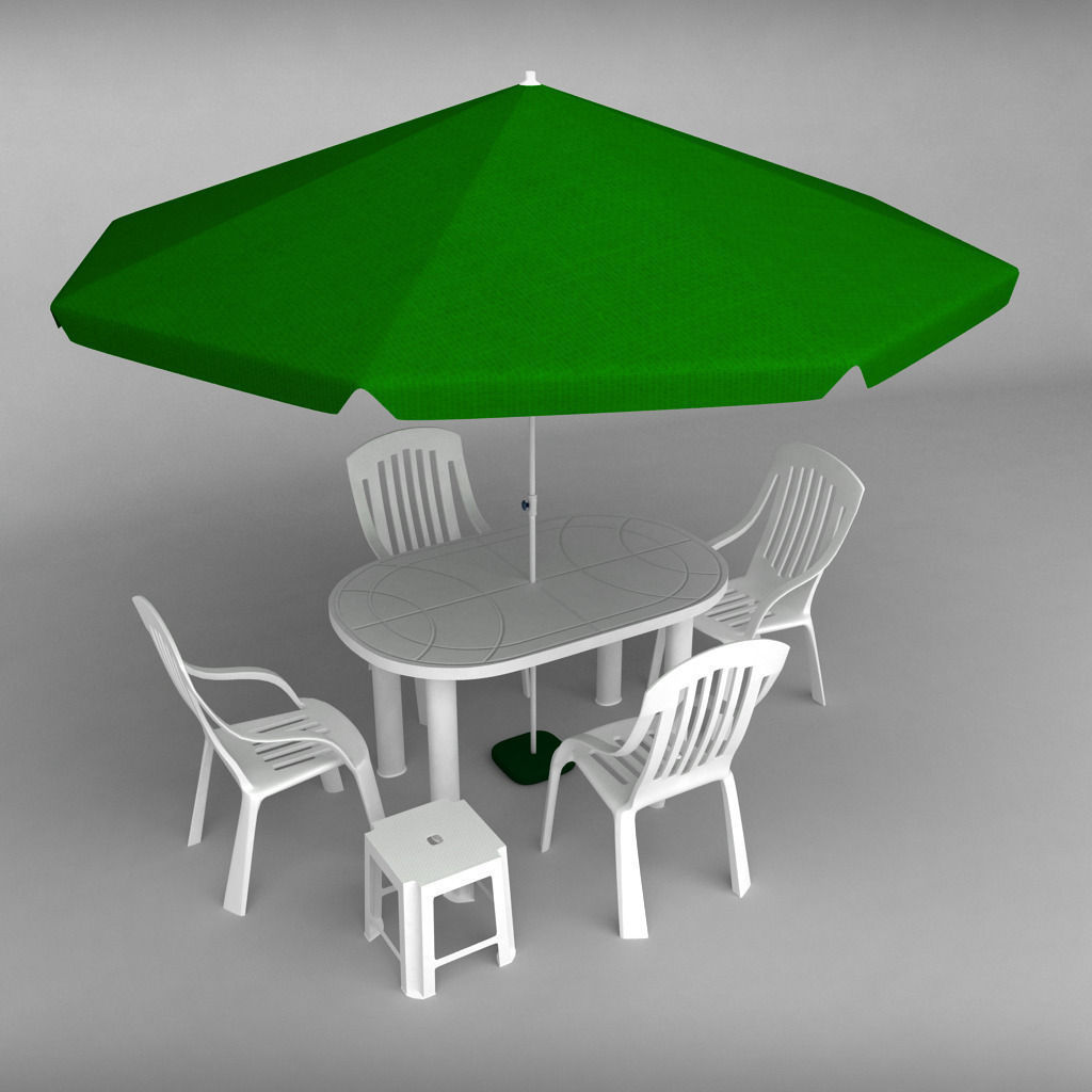 garden plastic furniture set 2 3d model max obj 3ds fbx mtl 1