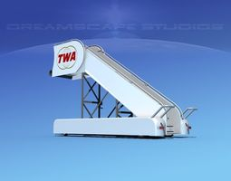 airport stairs twa rigged 3d