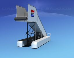 airport stairs united airlines rigged 3d model